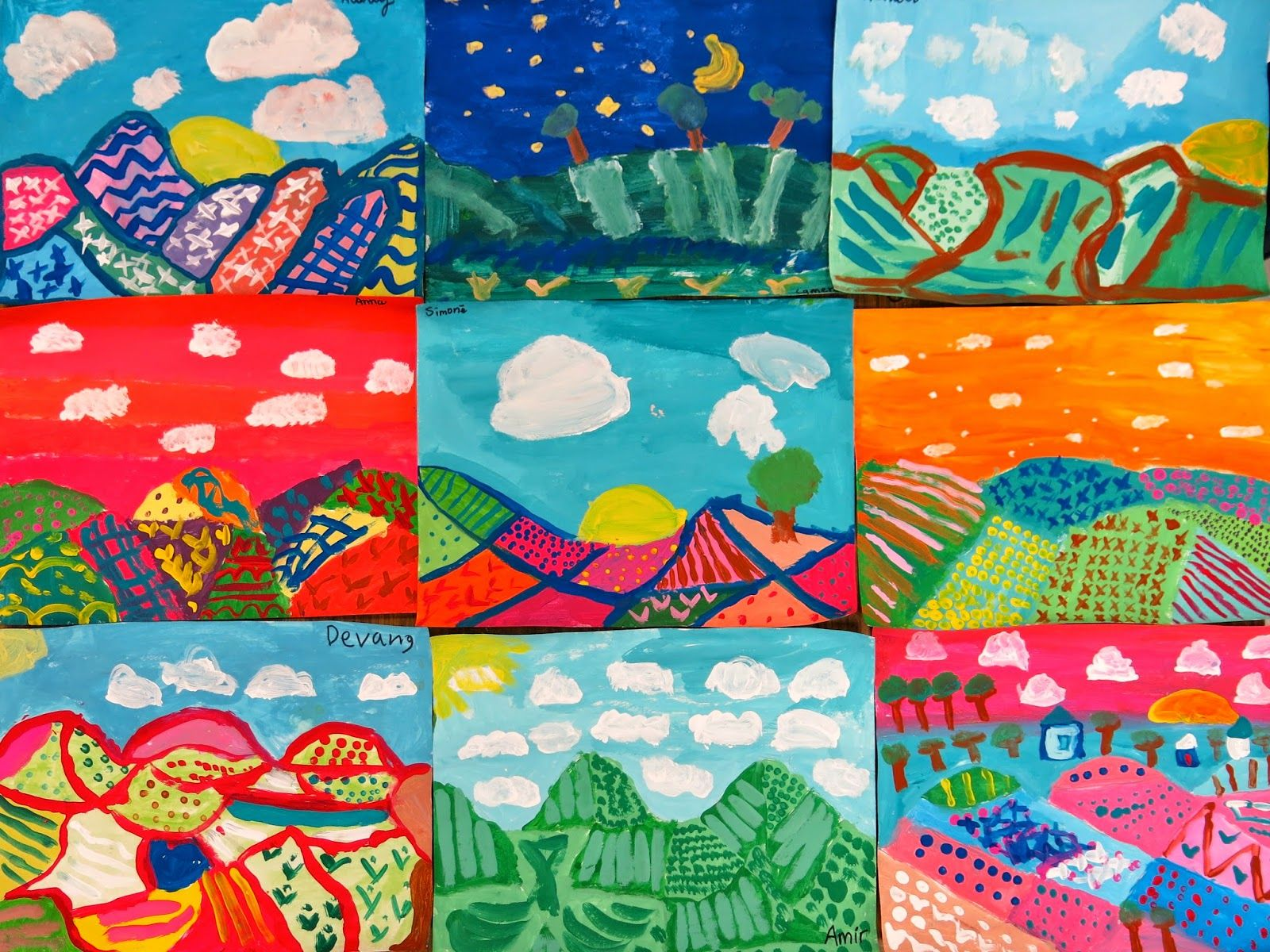 In The Art Room Fourth Grade Color Mixing Landscapes