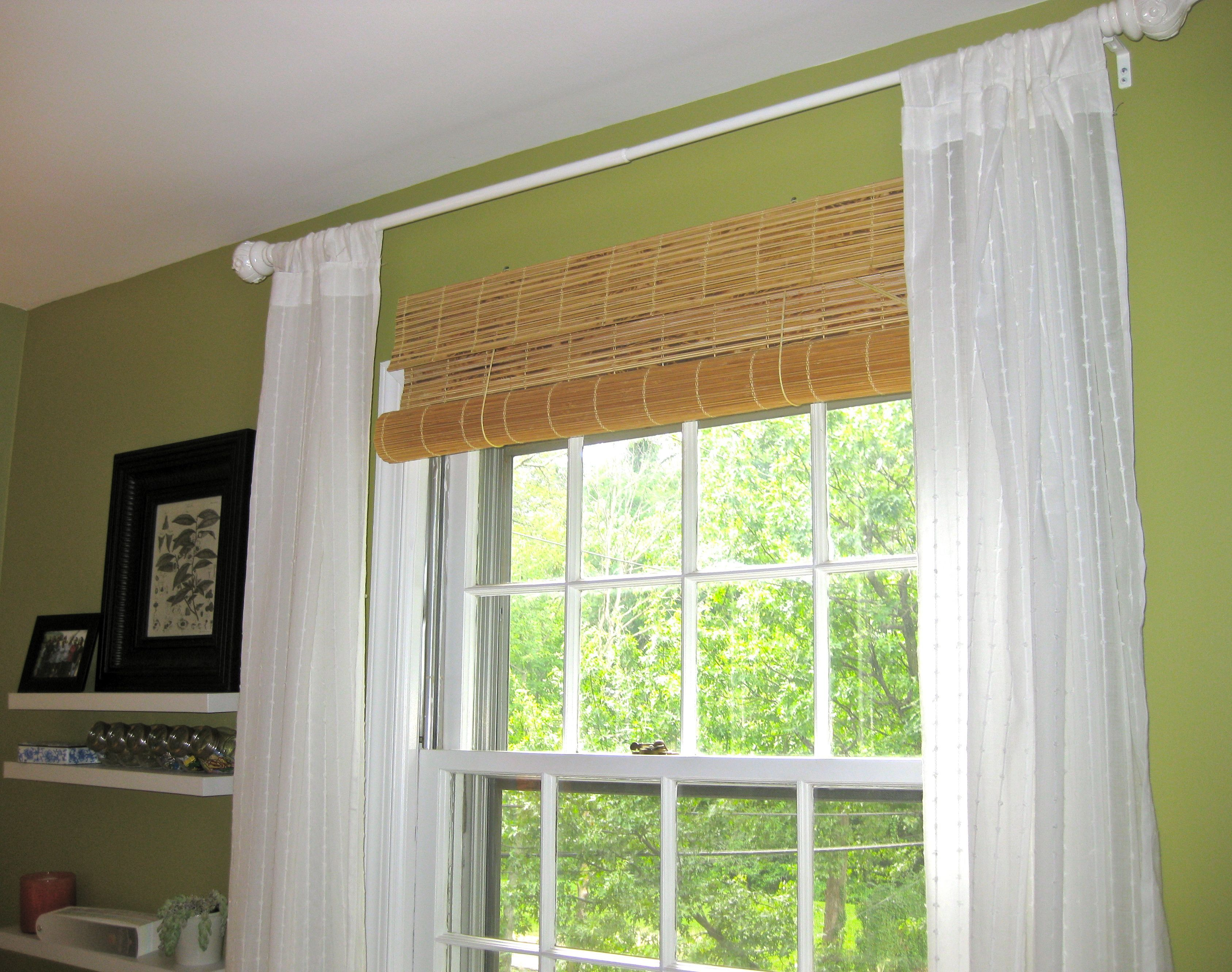 Classy Hanging Bamboo Roller Outside Mount Blinds With