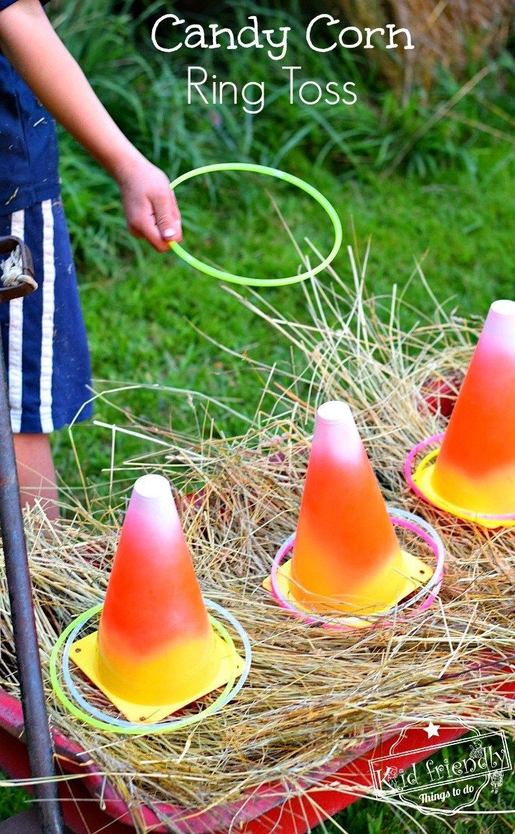 Easy DIY Candy Corn Ring Toss with Glow Necklaces for a