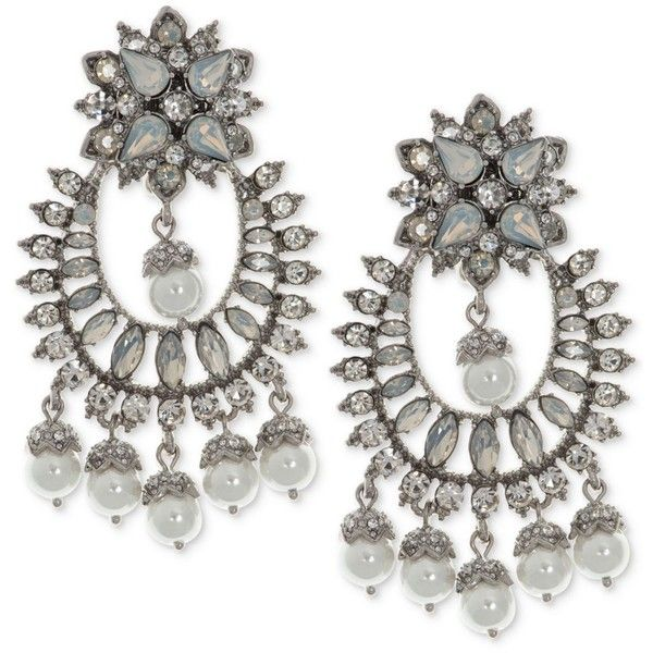 Marchesa Silver Tone Crystal Imitation Pearl Chandelier Earrings 175 Liked On