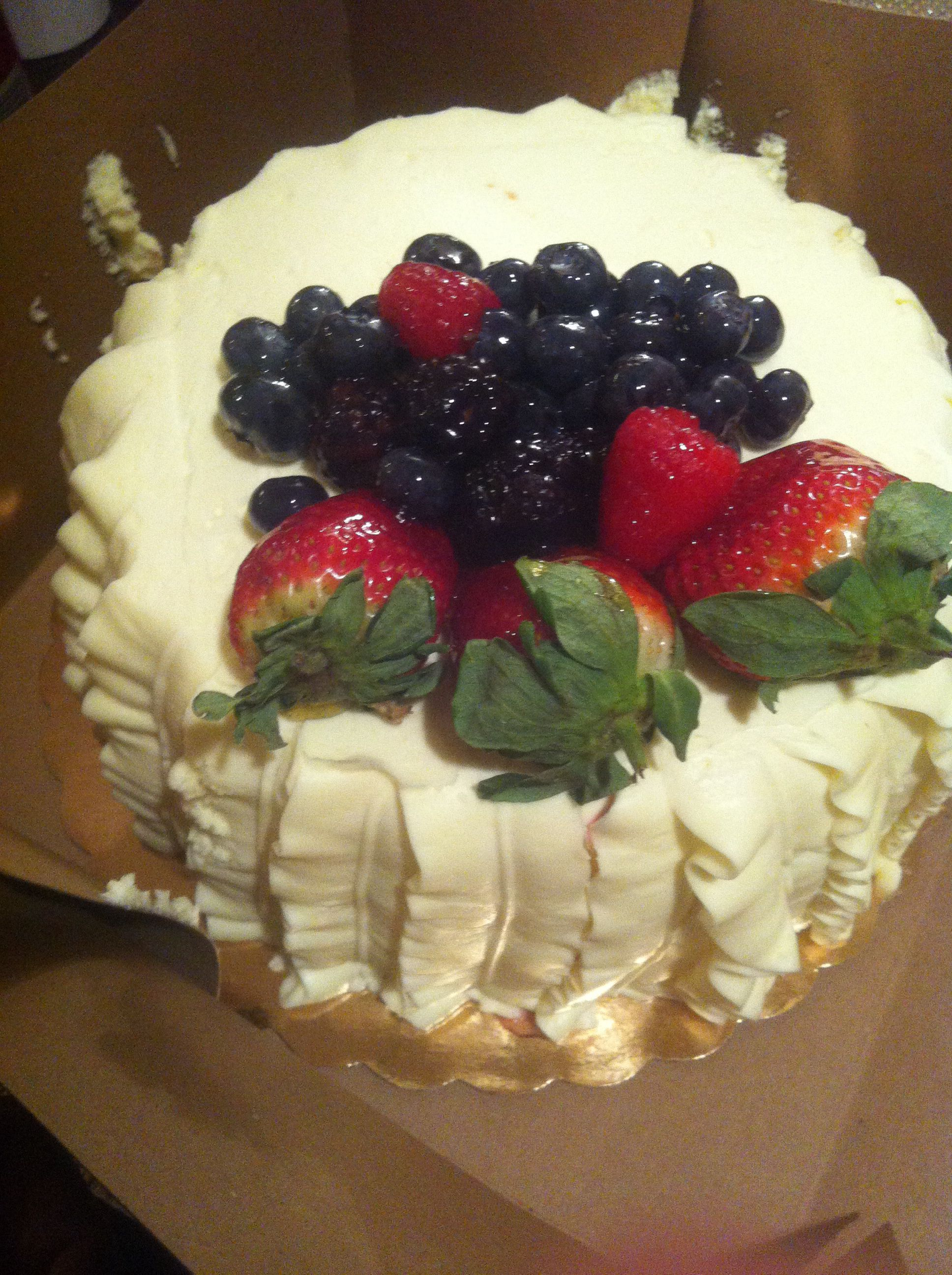 Delicious Chantilly fruit cake from Whole Foods one on my