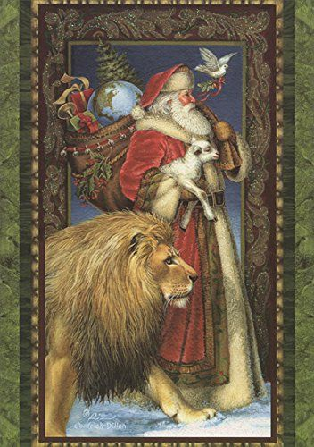 Boxed Christmas Cards SANTA LION LAMB 14 Pack LPG