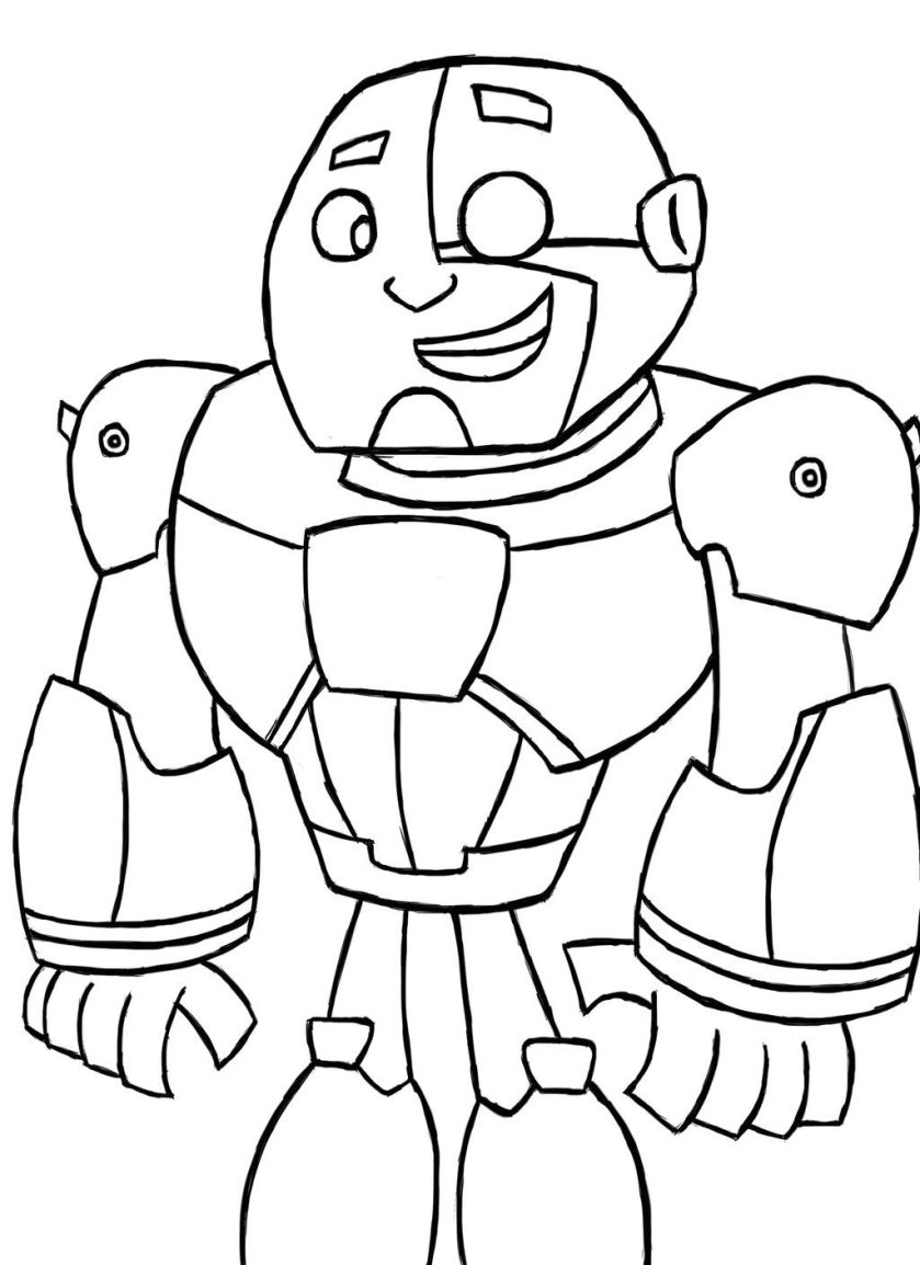 coloring. cyborg teen titans go coloring pages image