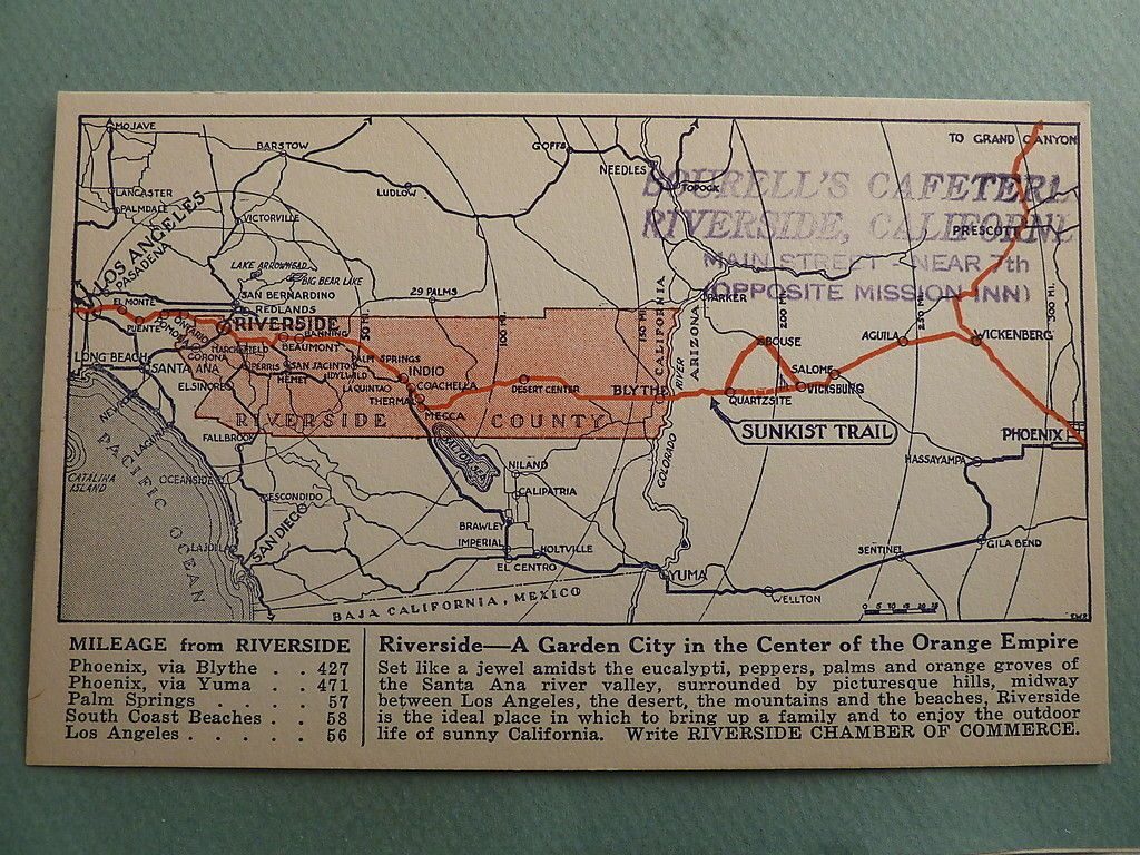 Vintage Map Of Riverside Ca In The Orange Empire From Bourell S Cafeteria Near The Mission Inn