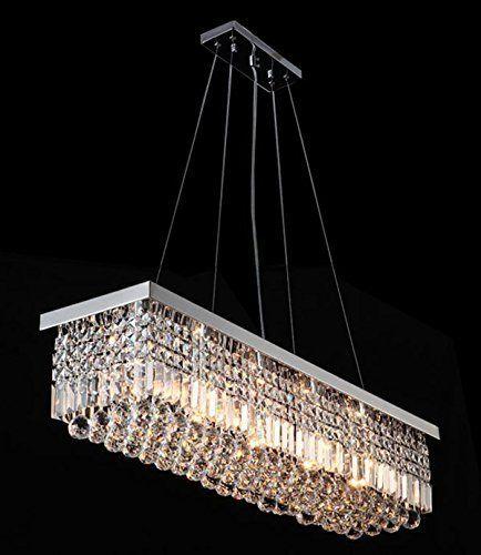 Siljoy L47 X W10 H10 Clear K9 Rectangle Crystal Modern Chandelier