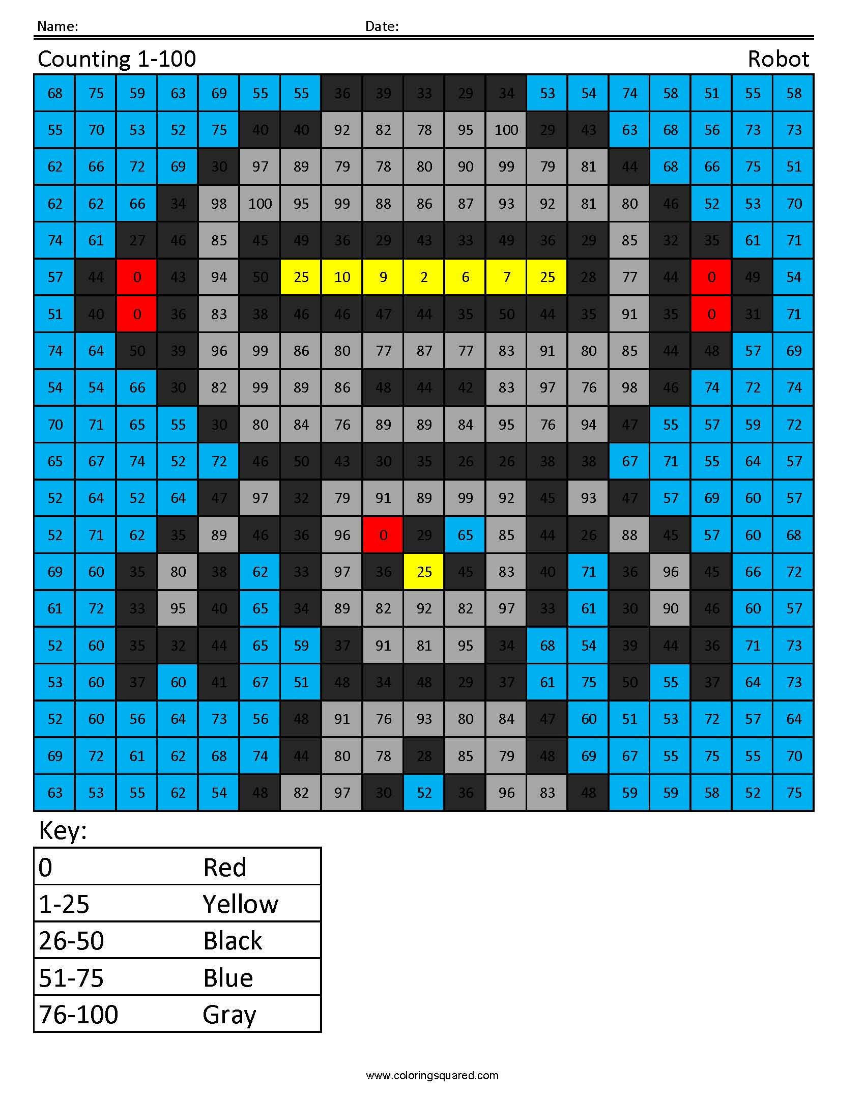1st Grade Math Counting Robot