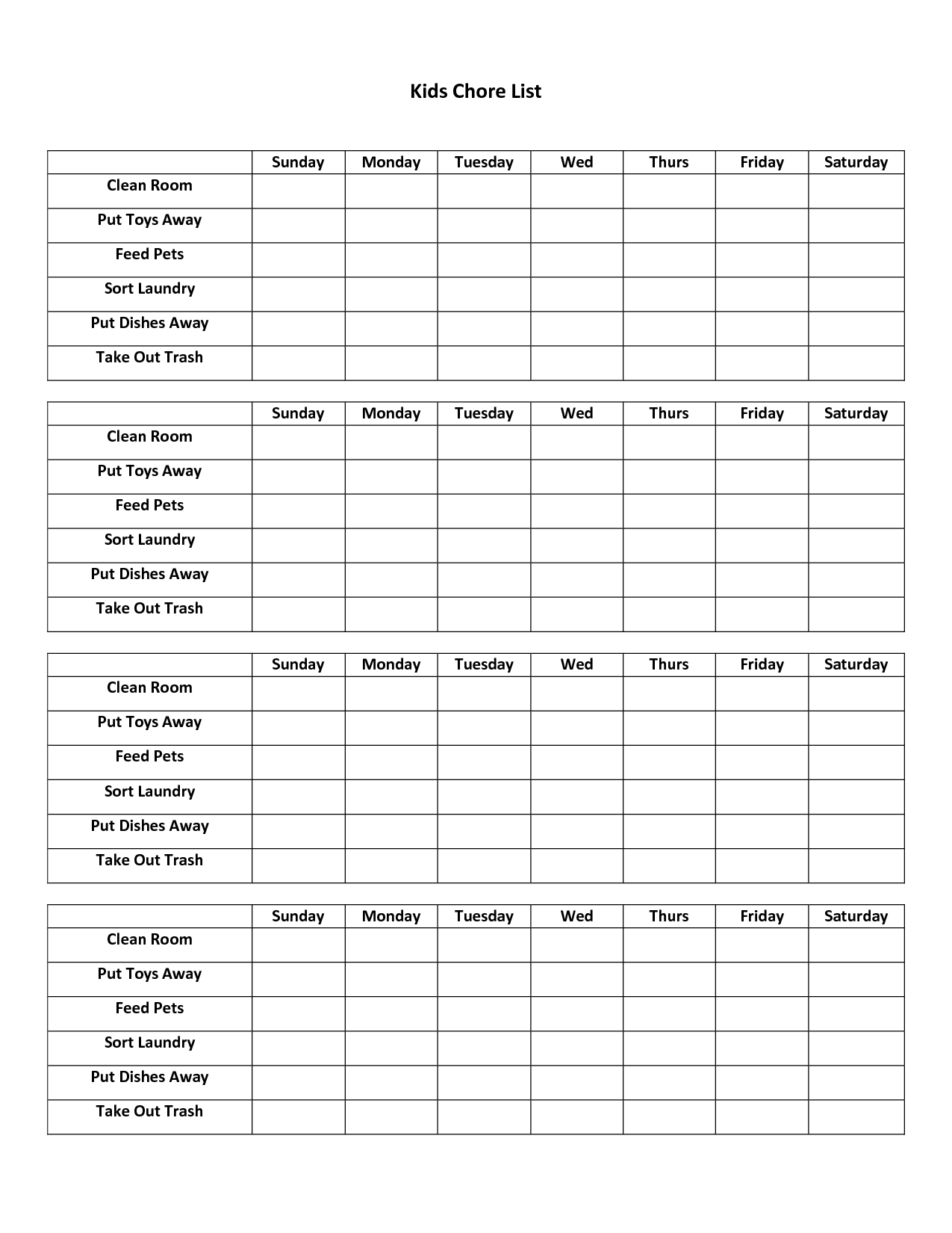 Weekly Checklist For House Cleaning And Other Weekly