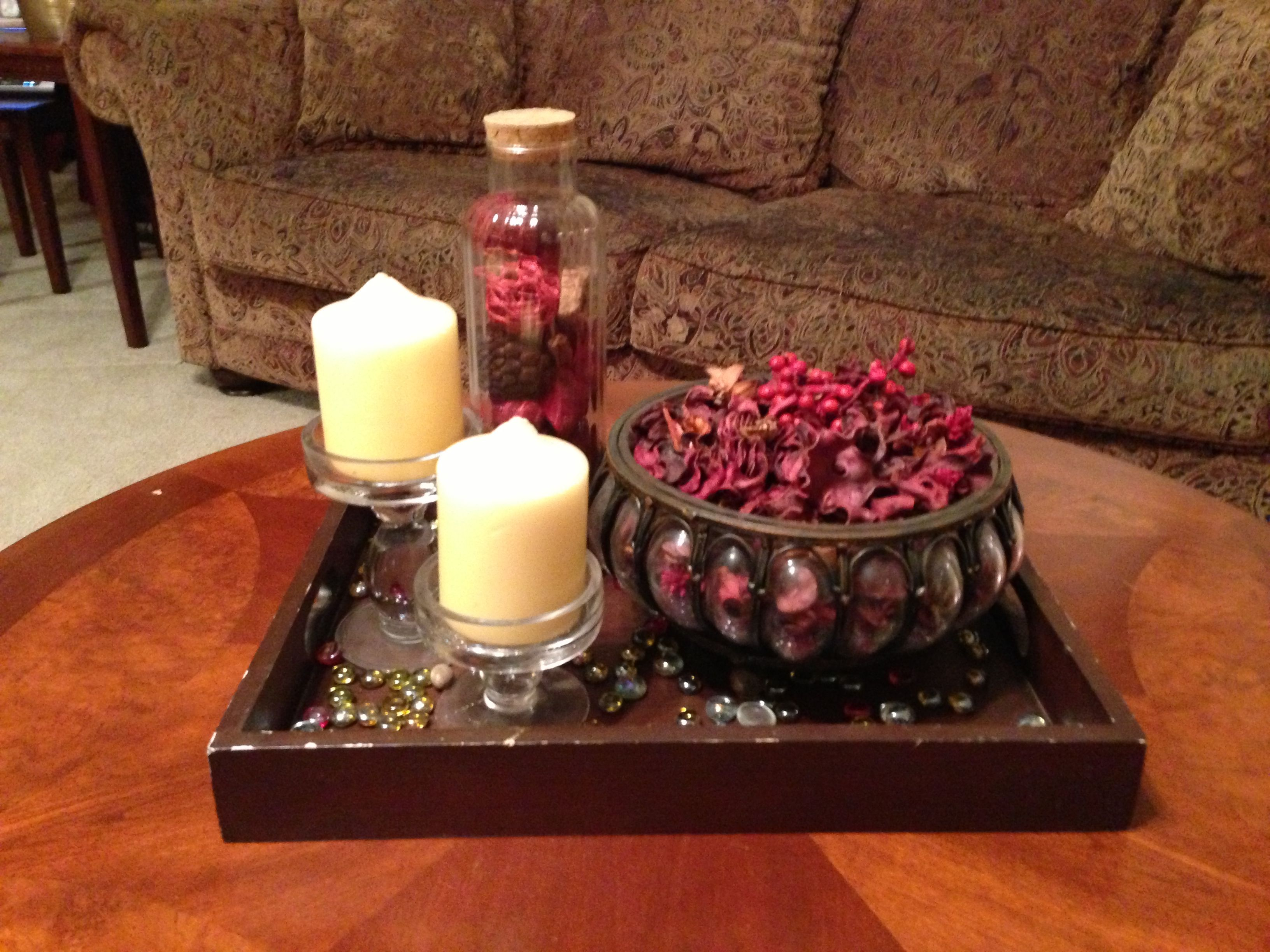 Coffee table decor...potpourri and candle/holder..boom