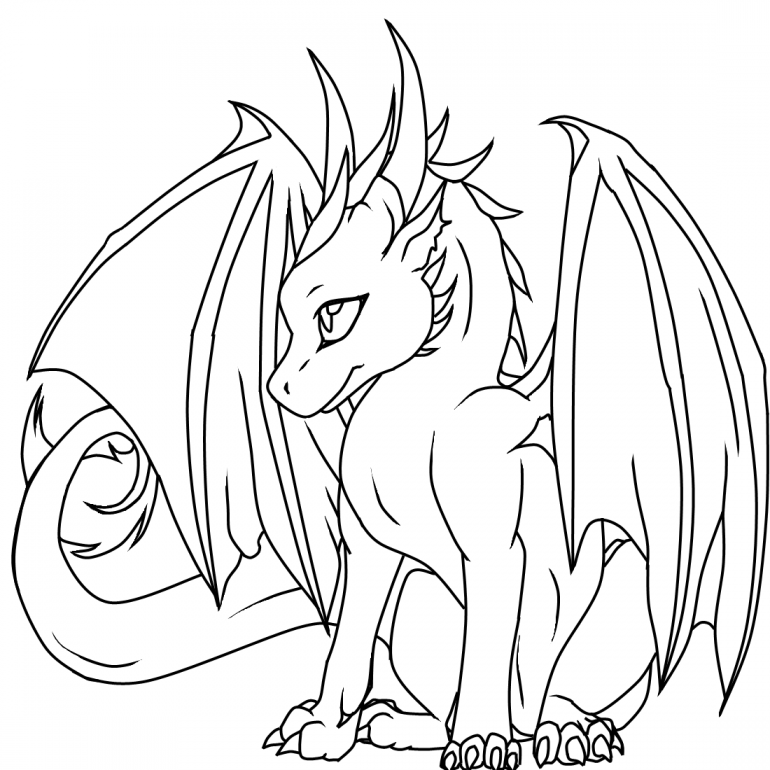 Realistic Dragon Coloring Pages printable baby dragons