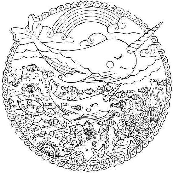 Narwhal coloring page for adults, Sea life adult coloring