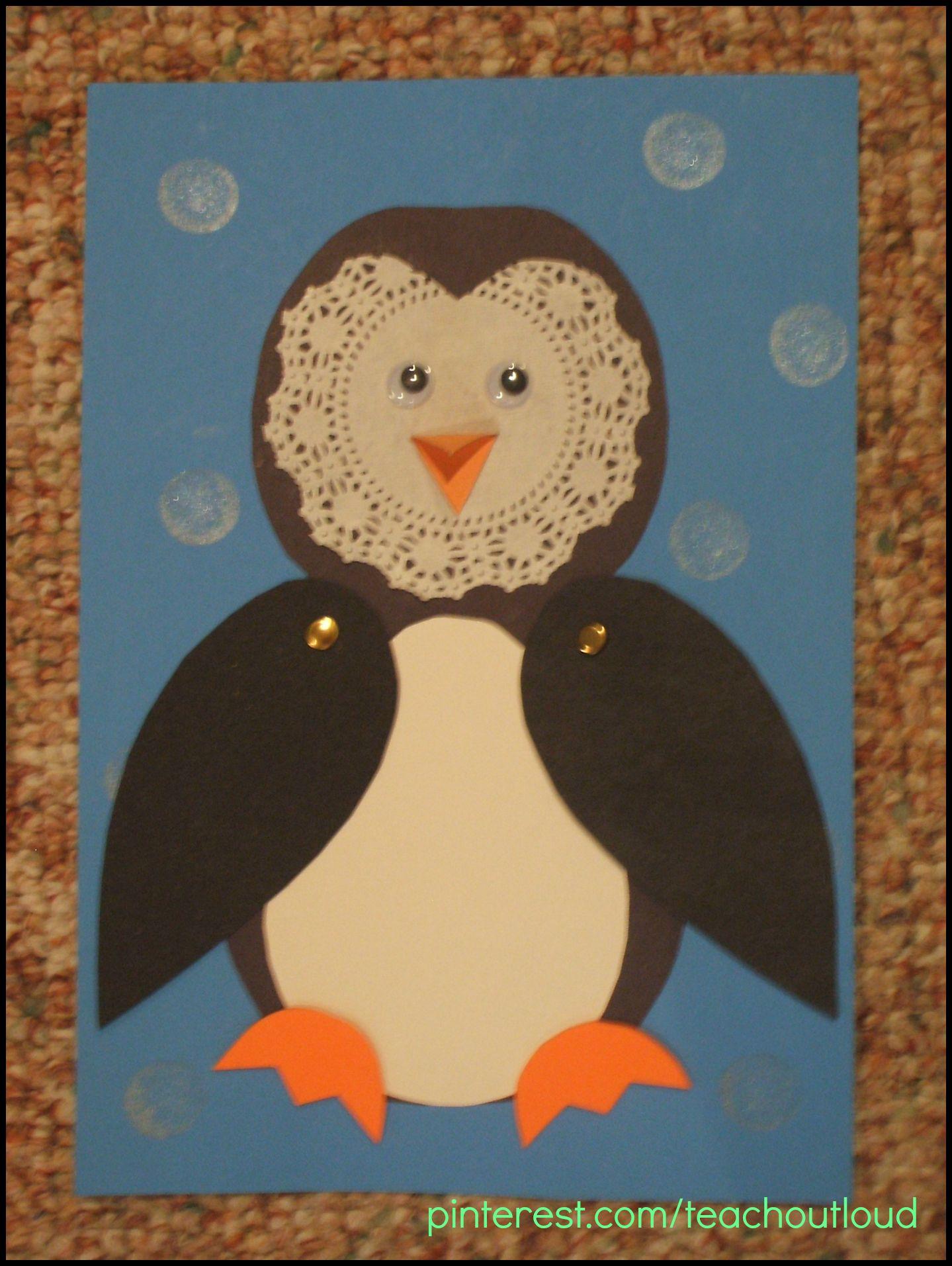Doily Penguin Preschool Craft Following Directions Patterning Scissor Skills Fine Motor