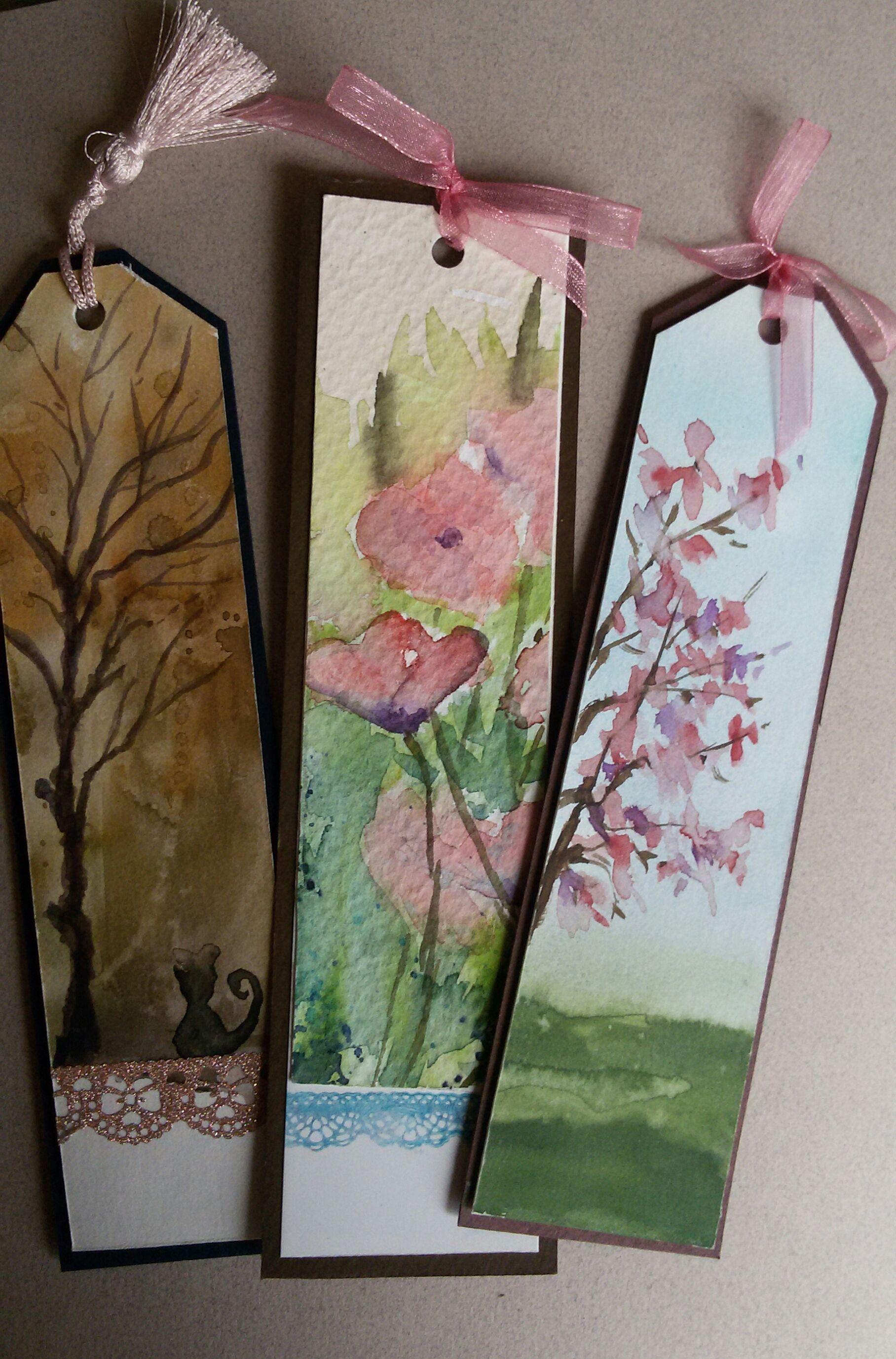 Suluboya Kitap Ayralar Watercolor Bookmarks Handmade