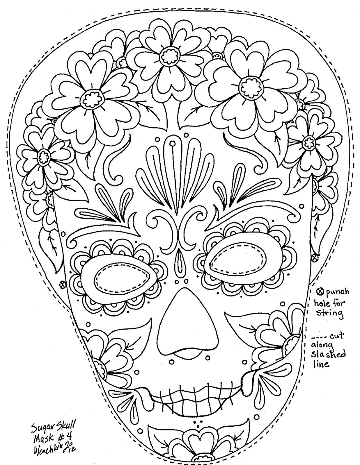 Day Of Dead Mask To Color