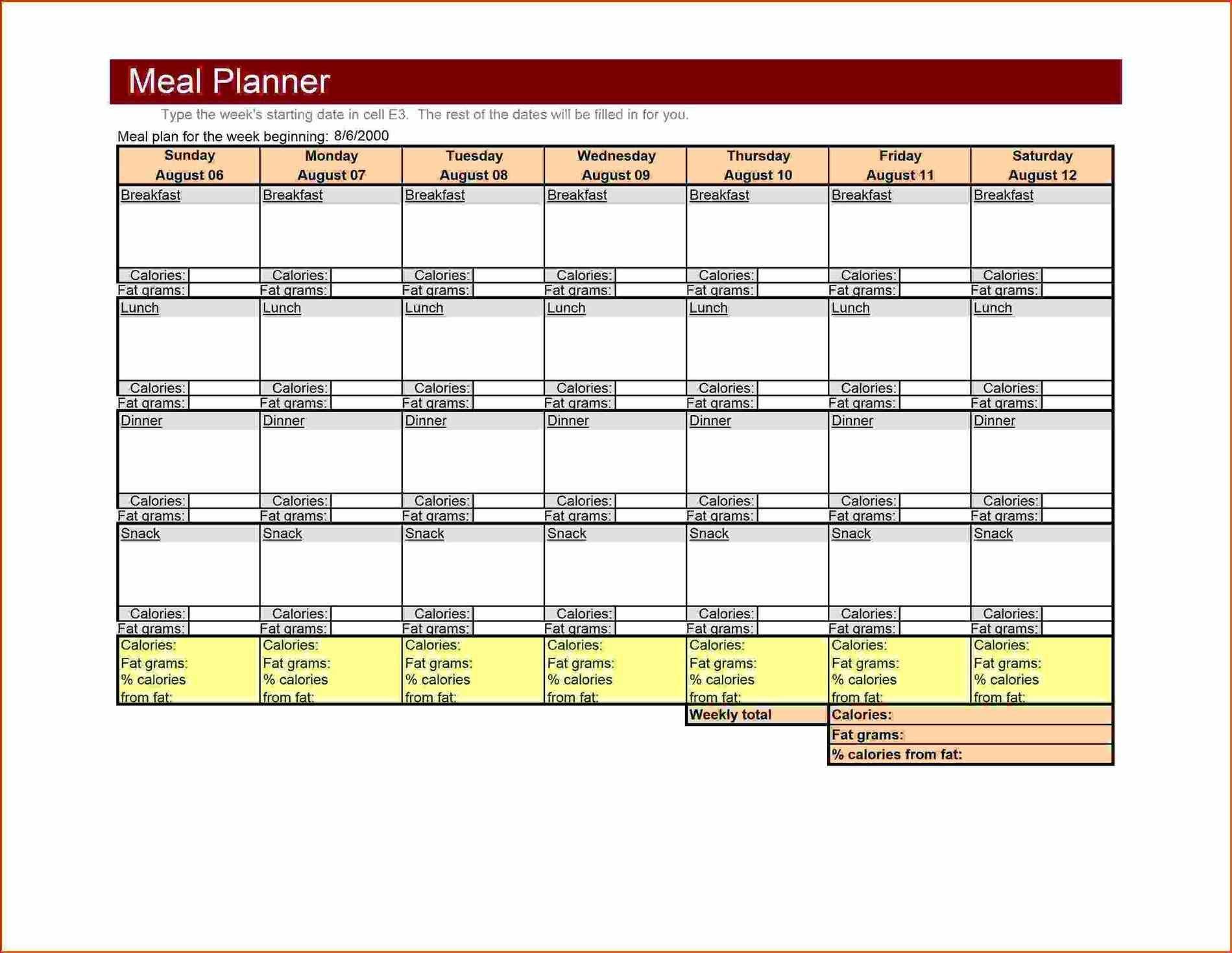 large weekly Menu Template Excel meal planner