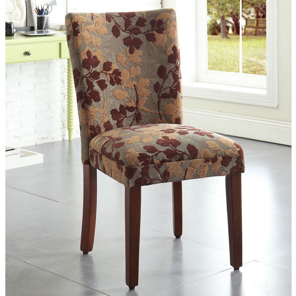 HomePop Classic Sage Leaf Pattern Fabric Dining Chair by