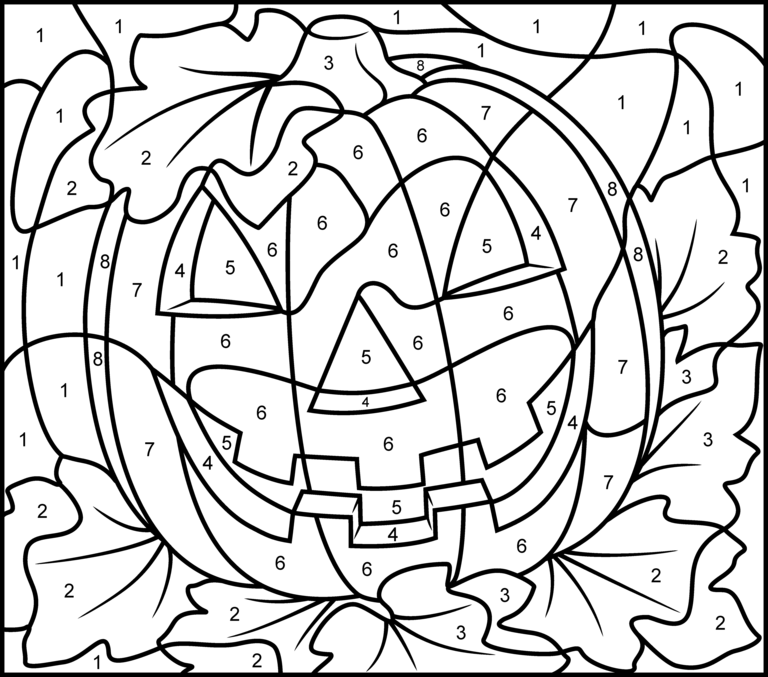 JackOLantern Pumpkin colorbynumber activity coloring