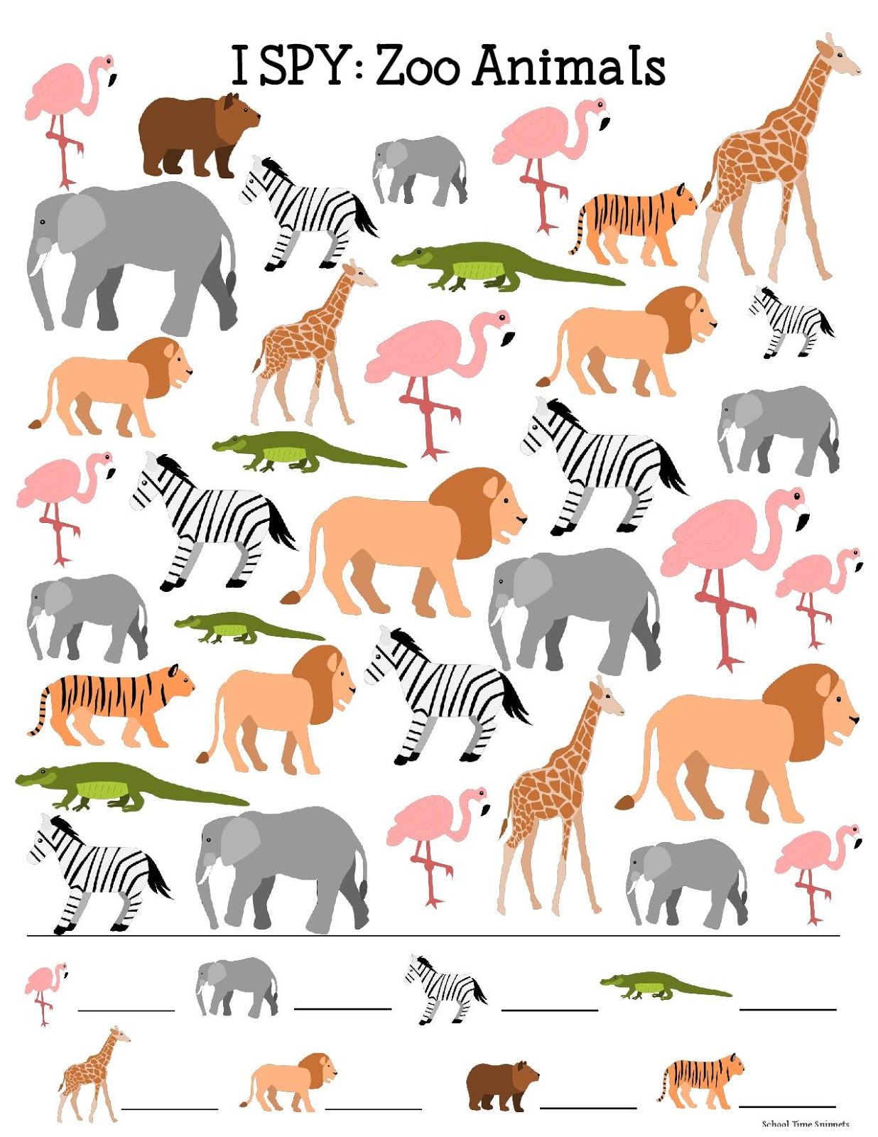 I Spy Printable For Kids Zoo Animals
