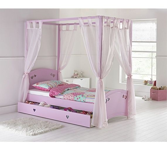 Collection Mia Single 4 Poster Bed With Ashley Mattress Pink At Argos Co