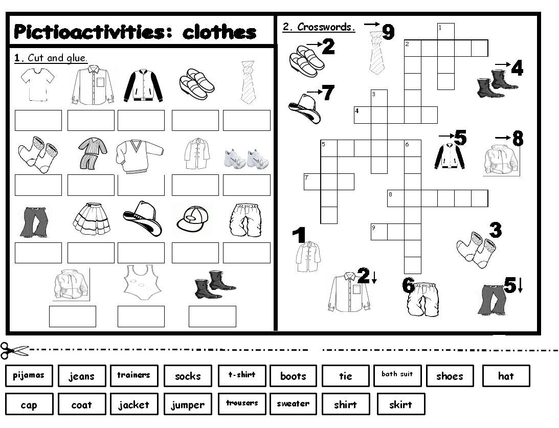 esl activities printouts Labels clothes , Games