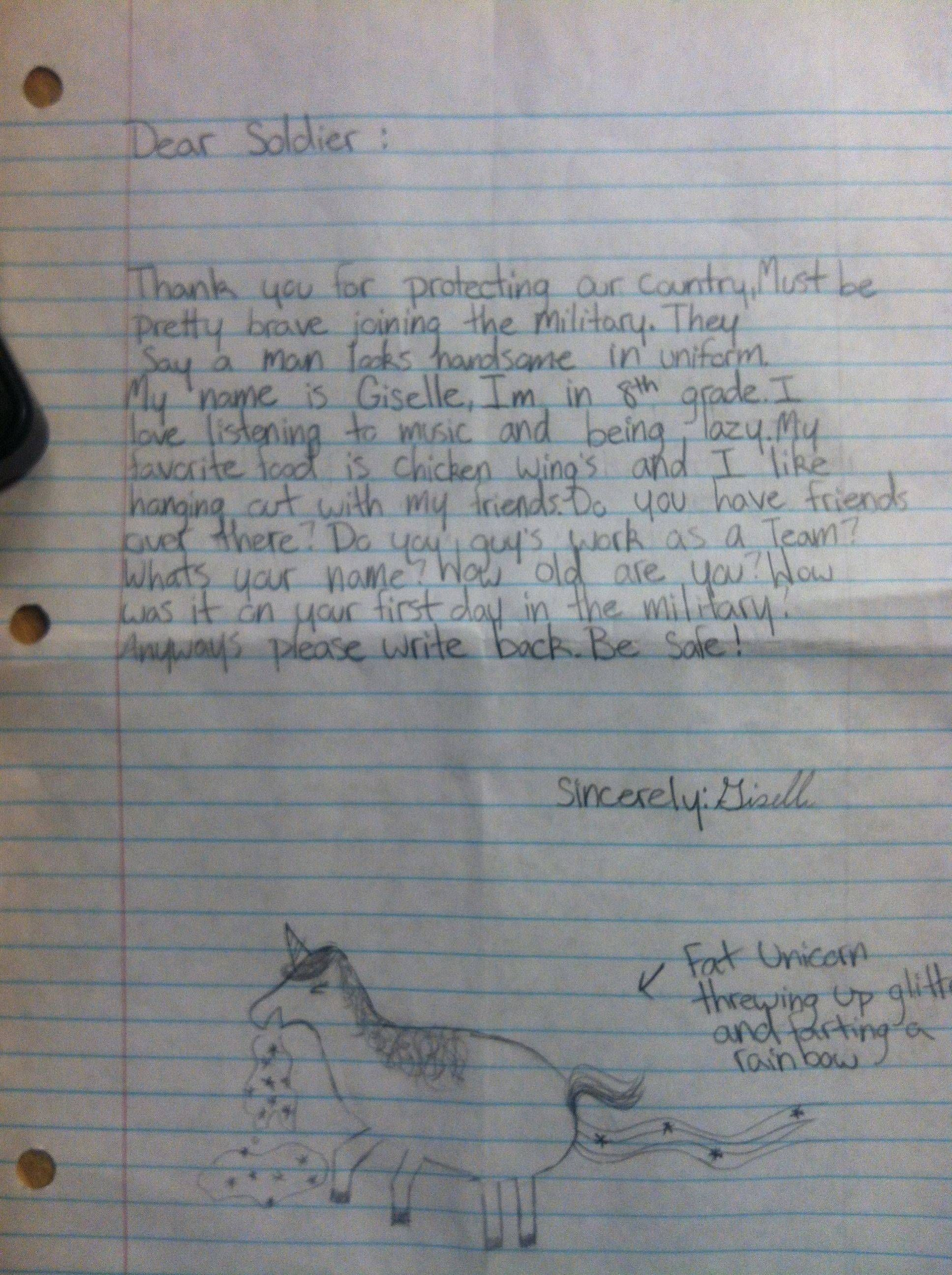 Kid sends soldier stationed overseas an adorable letter
