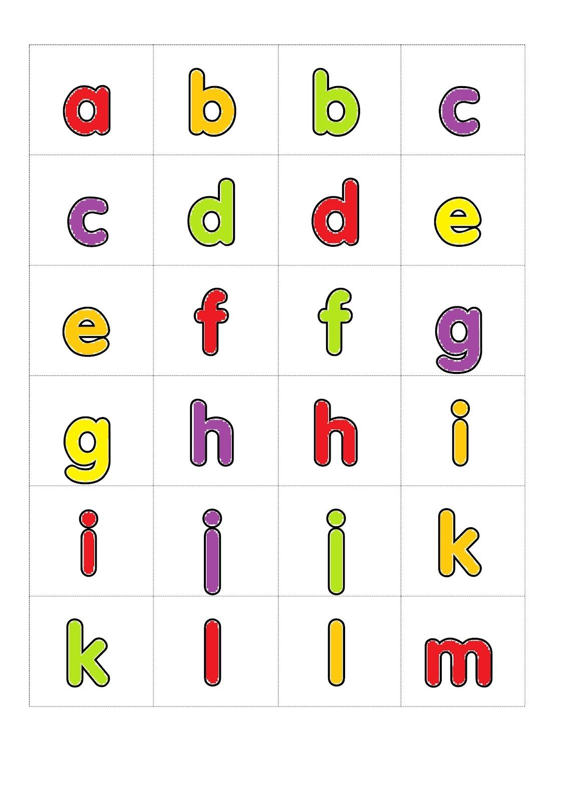 Small Alphabet Letters Printable