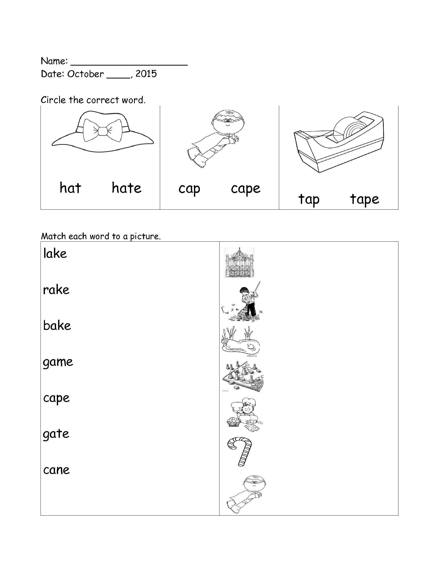 English Worksheet Grade 1 Long Vowels Long A For Full Sheet Click Here