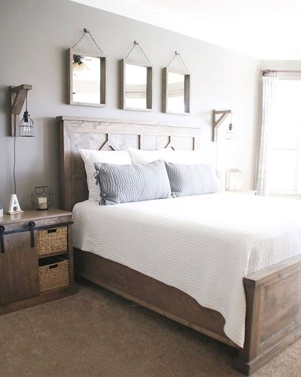 Rustic farmhouse style master bedroom ideas (22) Cabin