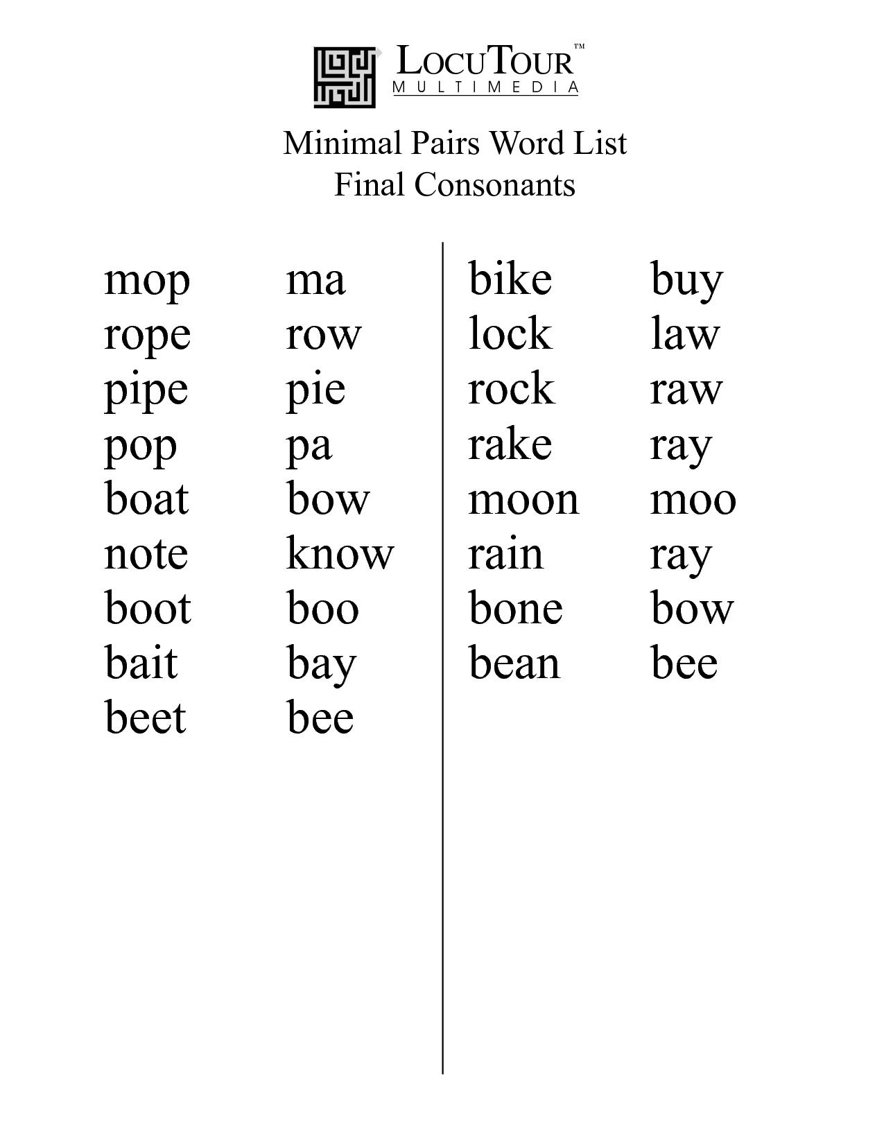 Minimal Pairs Word List