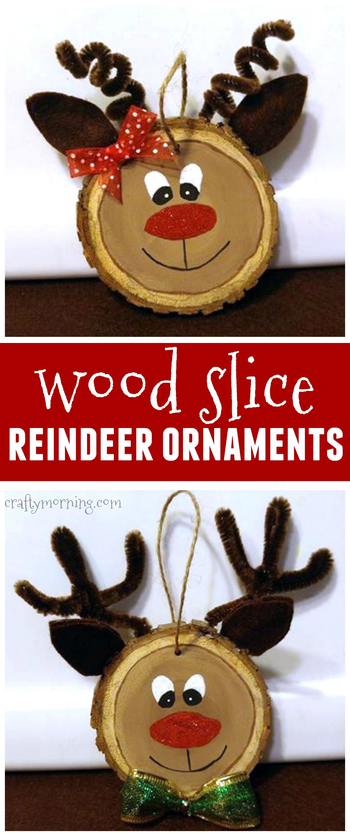 Wood slice reindeer ornaments for a kids Christmas craft