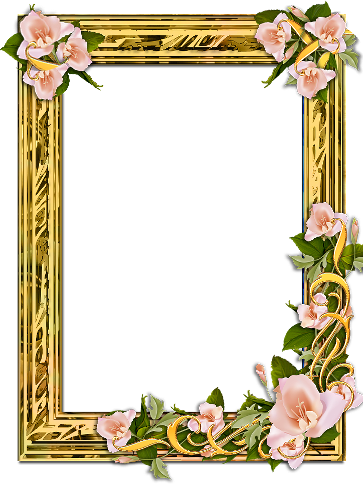 PNG Gold Frame with flowers on a transparent background