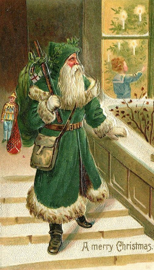 A Merry Christmas From A Vintage St Nicholas Dressed In