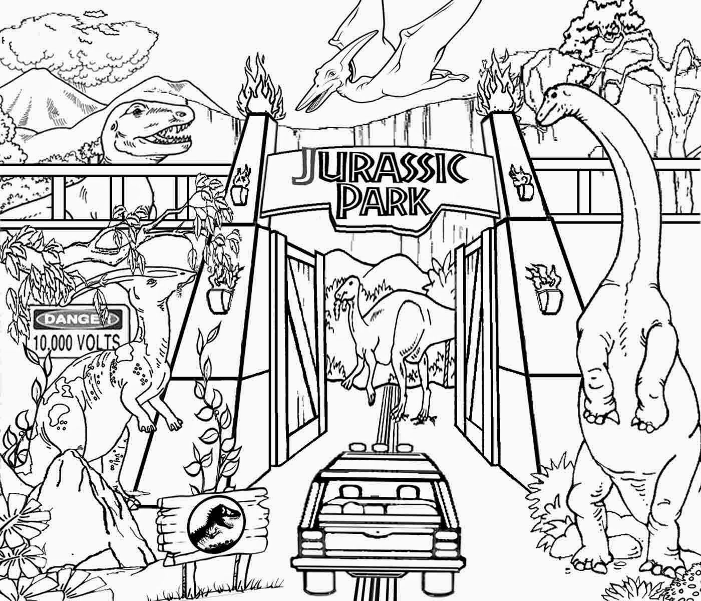 Detailed Printable High Resolution Free Clipart Jurassic Park Dinosaur Coloring Pages For Older