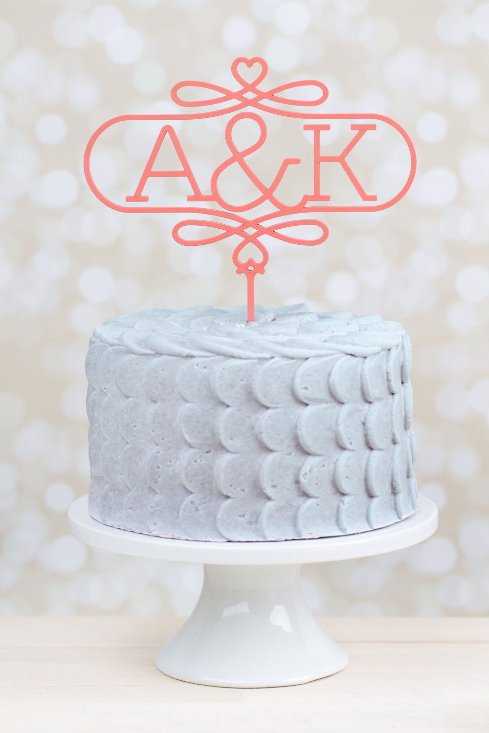 Monogram Wedding Cake Topper Coral by betteroffwed on Etsy   59 00     Monogram Wedding Cake Topper Coral by betteroffwed on Etsy   59 00
