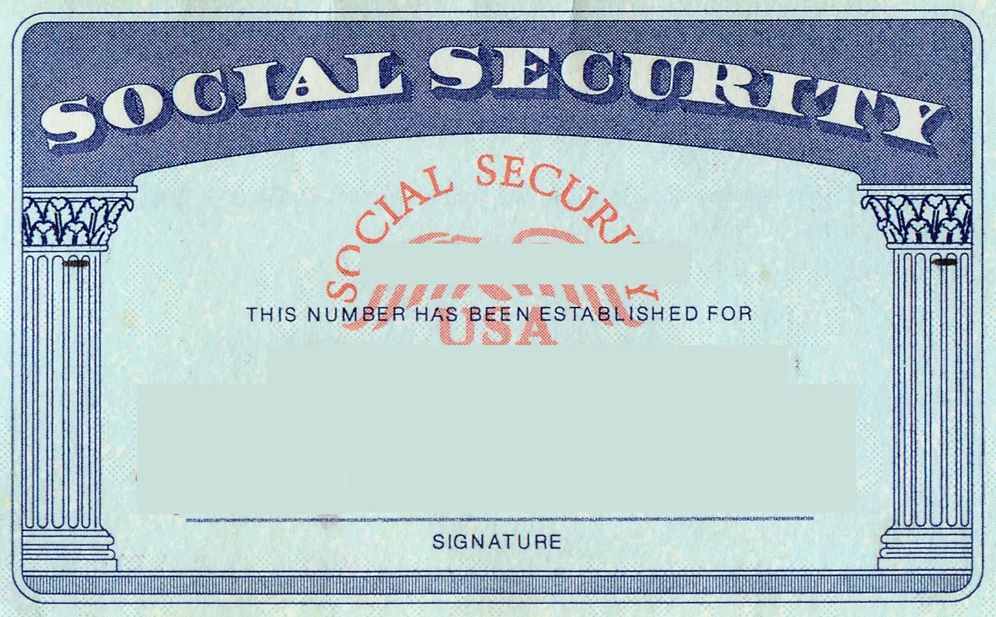 Blank Social Security Card Template