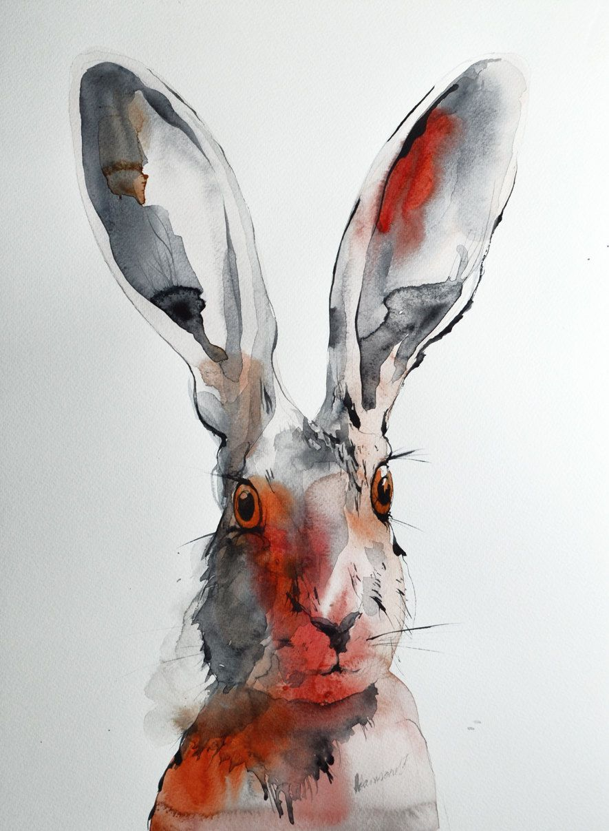 Hare original watercolor painting. One of a kind artwork