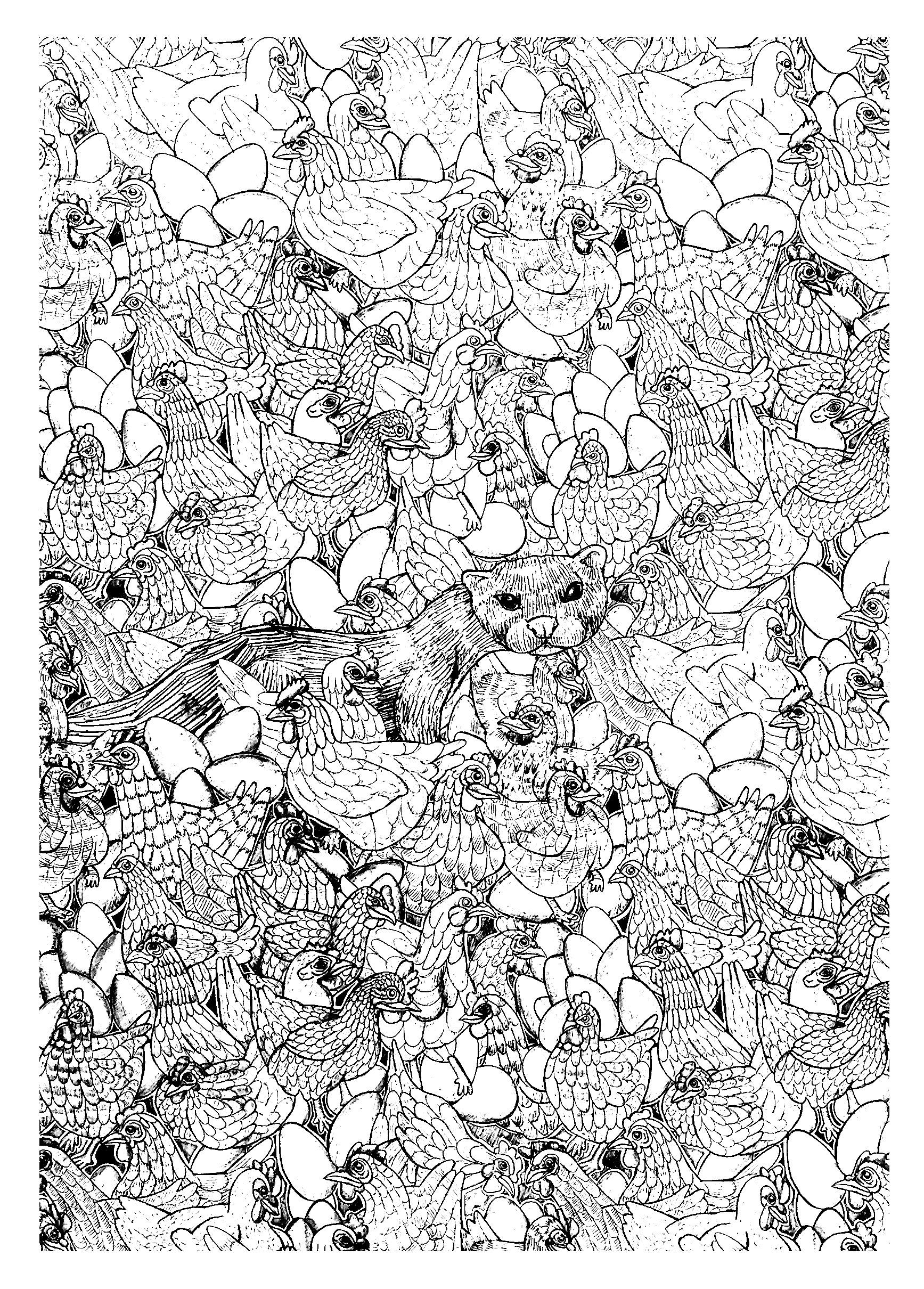 Free Coloring Page Coloring Adult Hen Ferret Complex