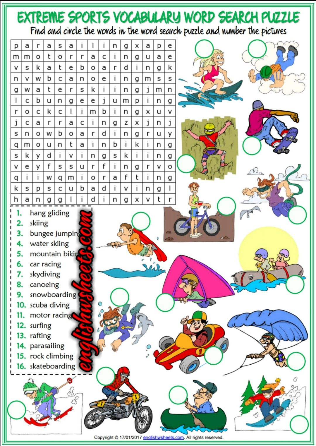 Extreme Sports Esl Printable Word Search Puzzle Worksheet