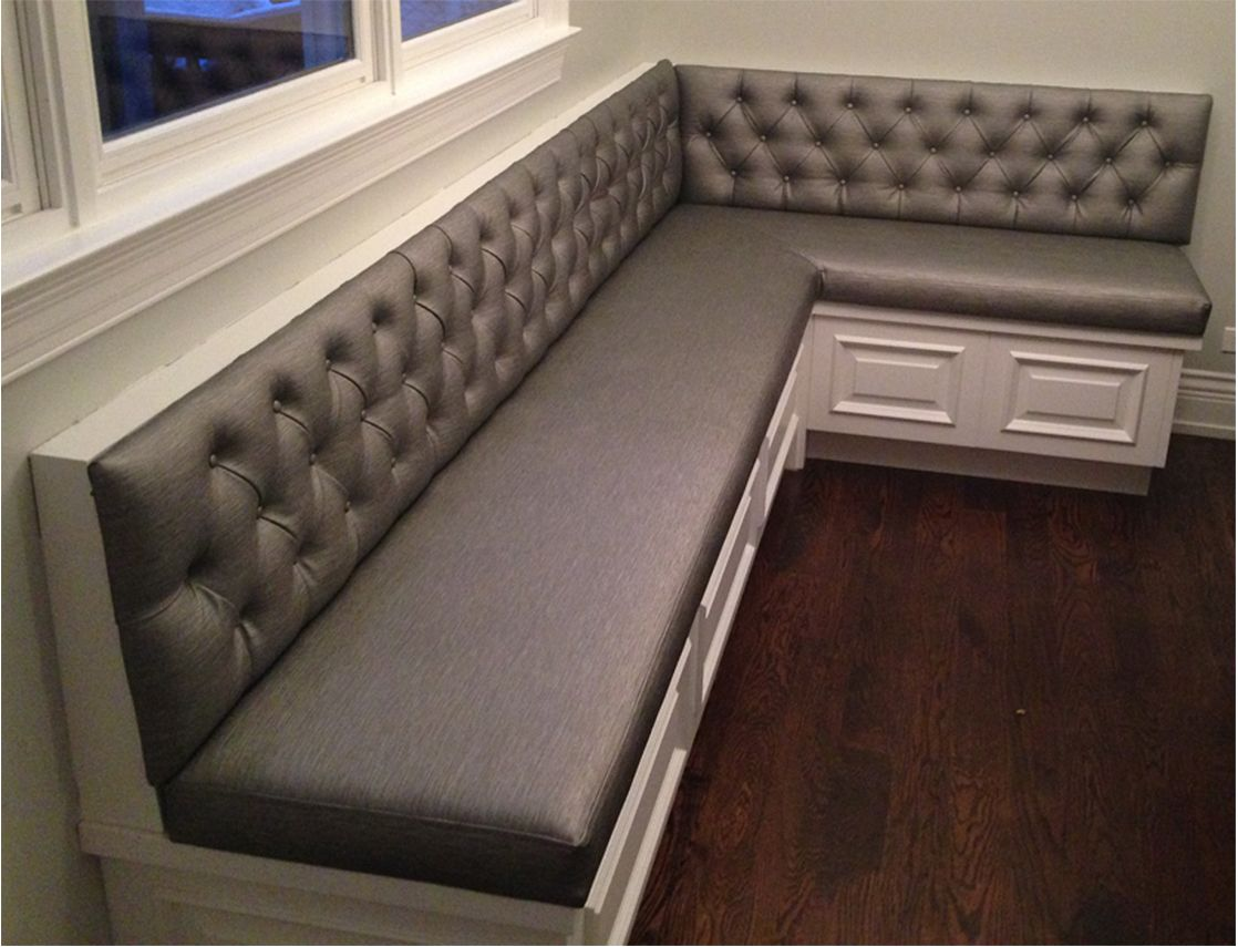 Transitional Diamond Tufted Sewn Custom Kitchen Banquette