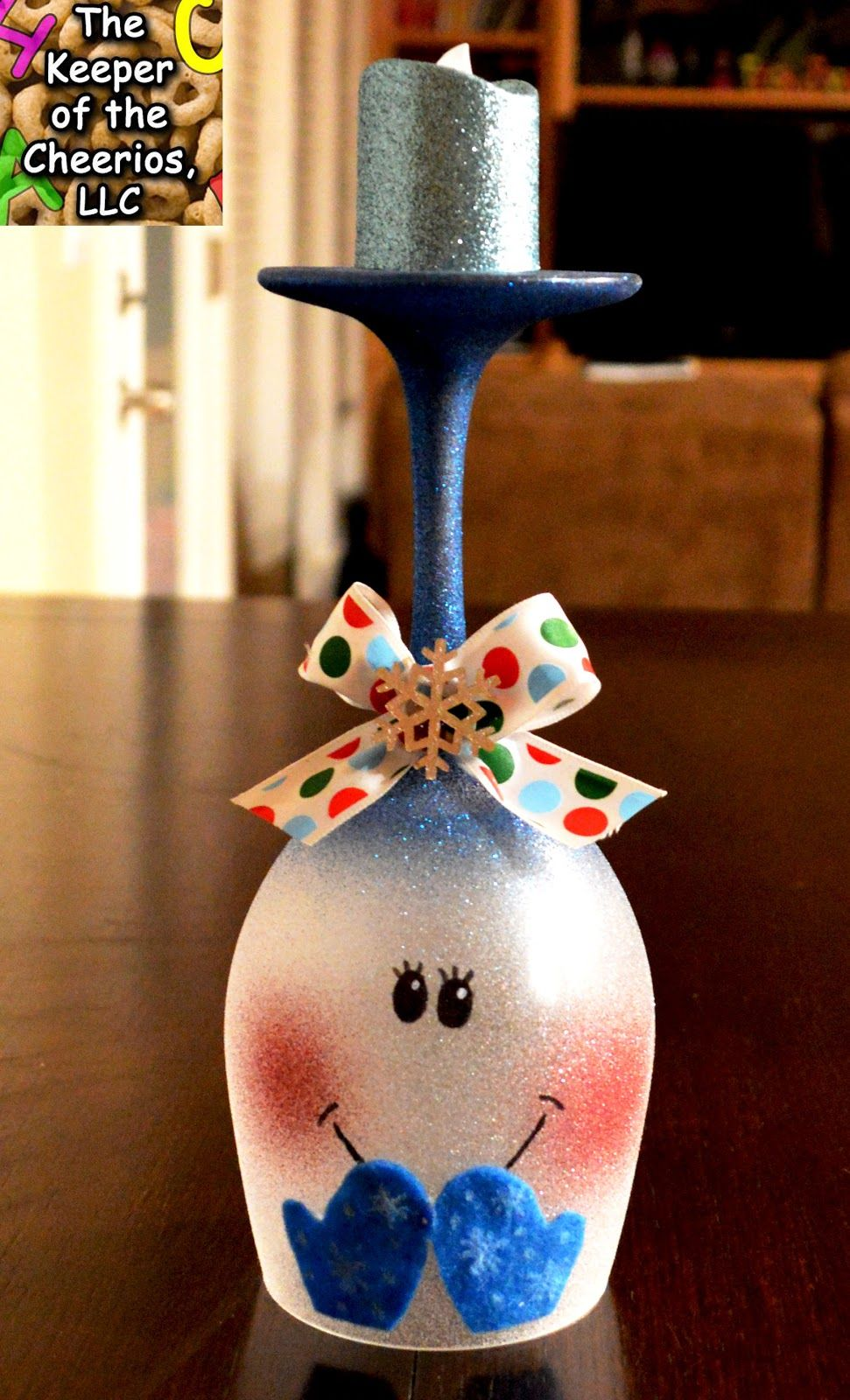 The Keeper of the Cheerios Snowman Wine Glass Candle