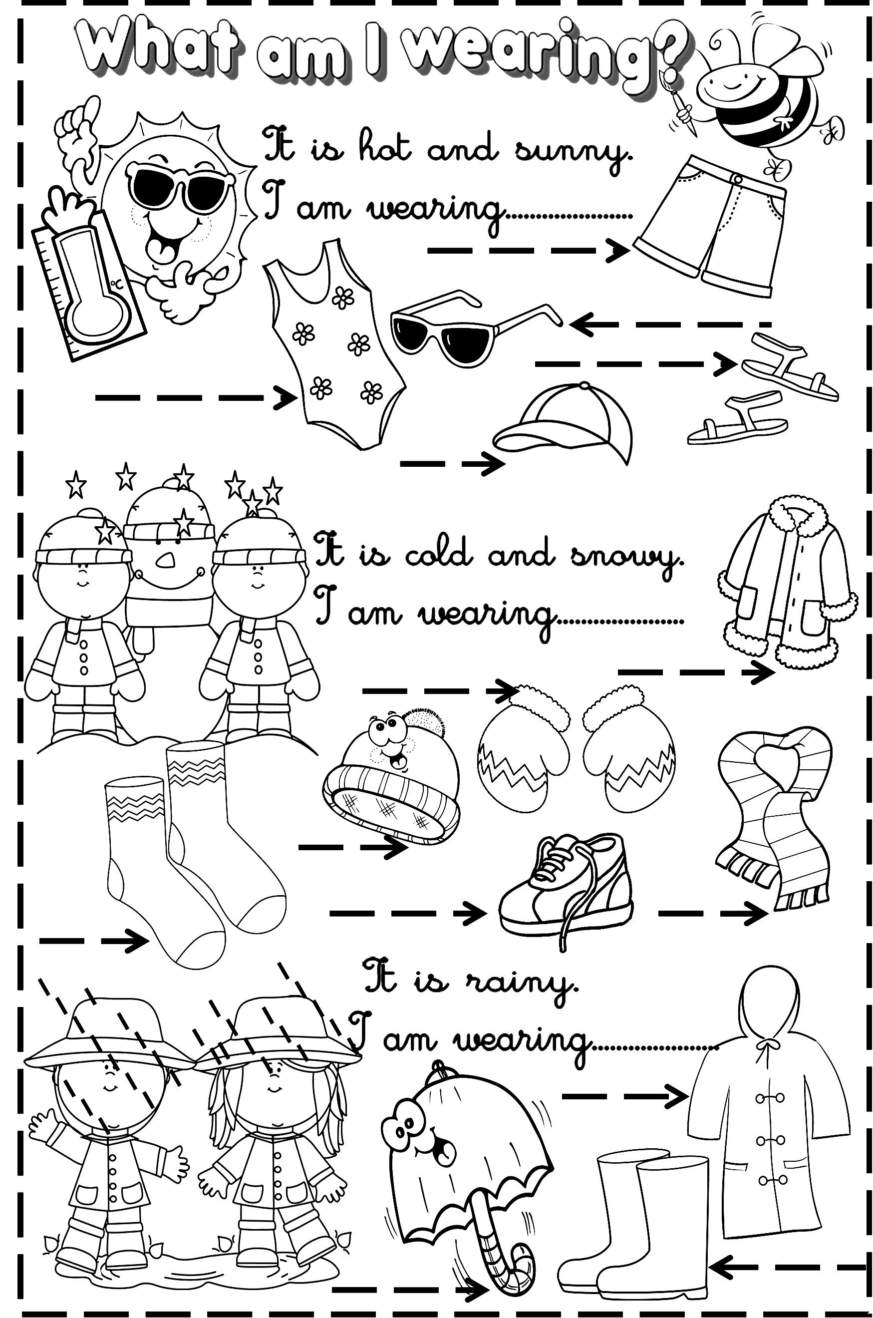 Worksheet For Kindergarten Clothes