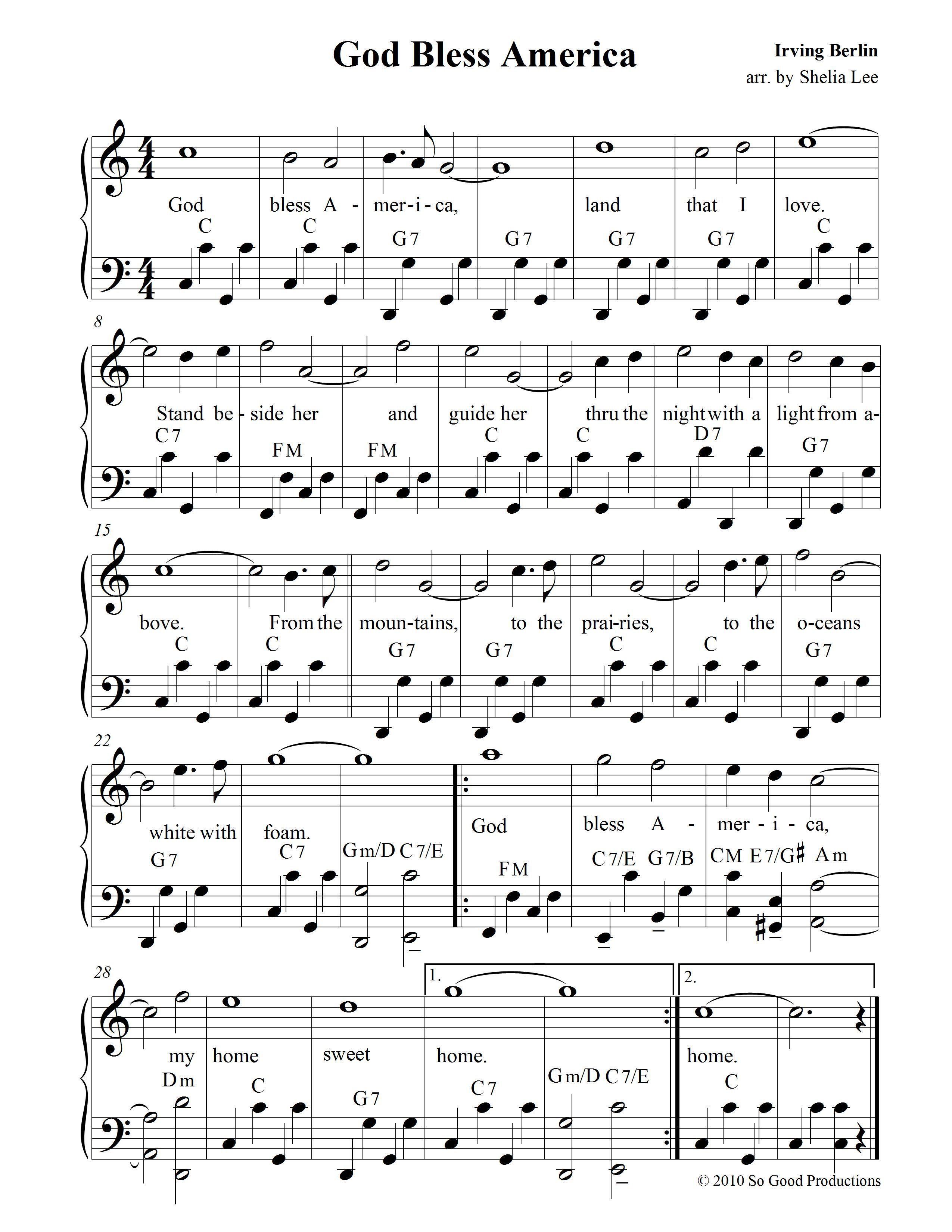 God Bless America Sheet Music Free