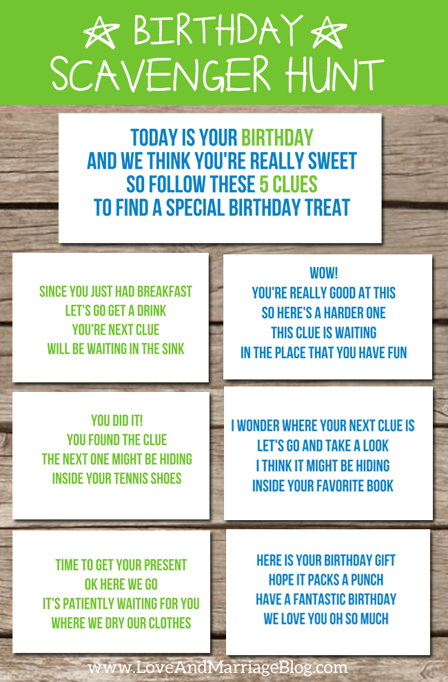 Birthday Scavenger Hunt {with free printables!} Birthday