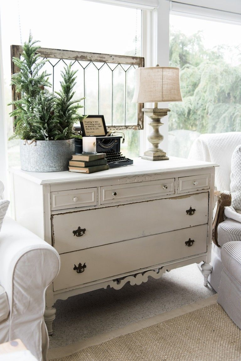 A New Old Dresser In The Sunroom Farmhouse style