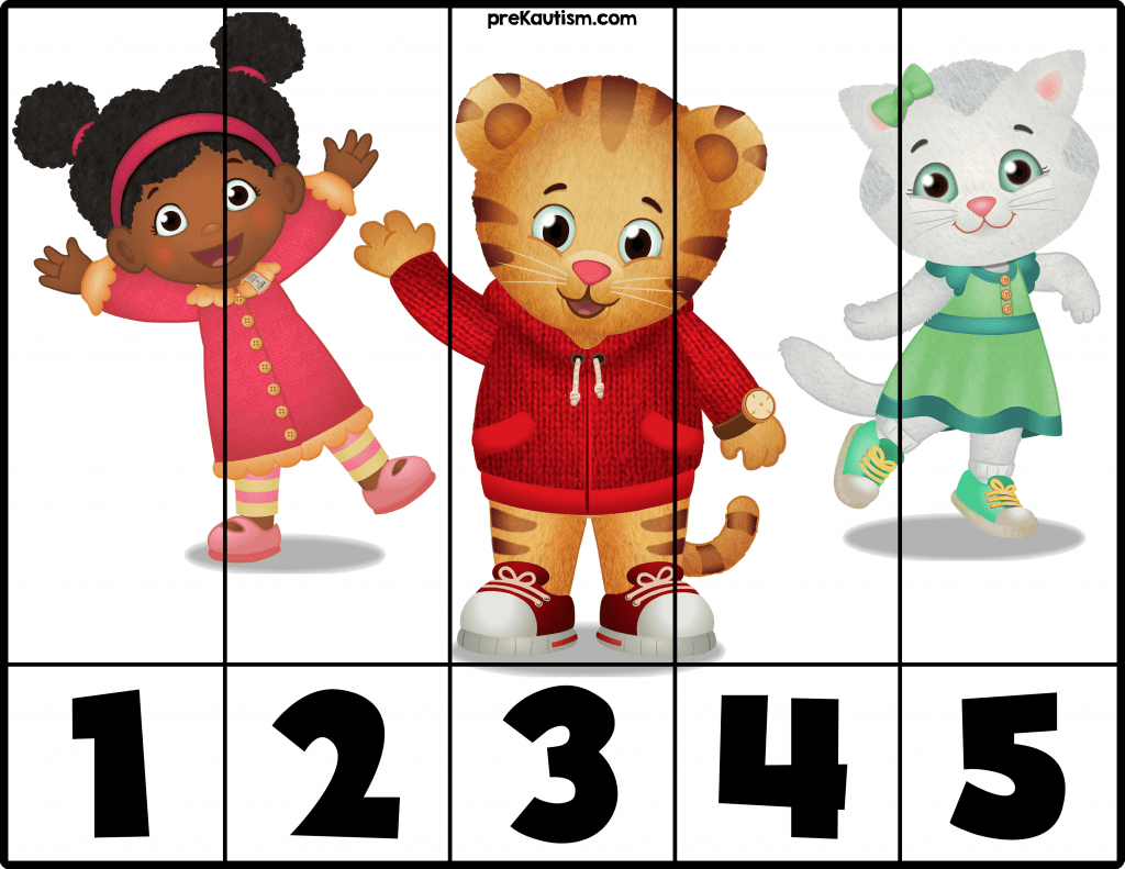 Free Daniel Tiger Number Puzzles