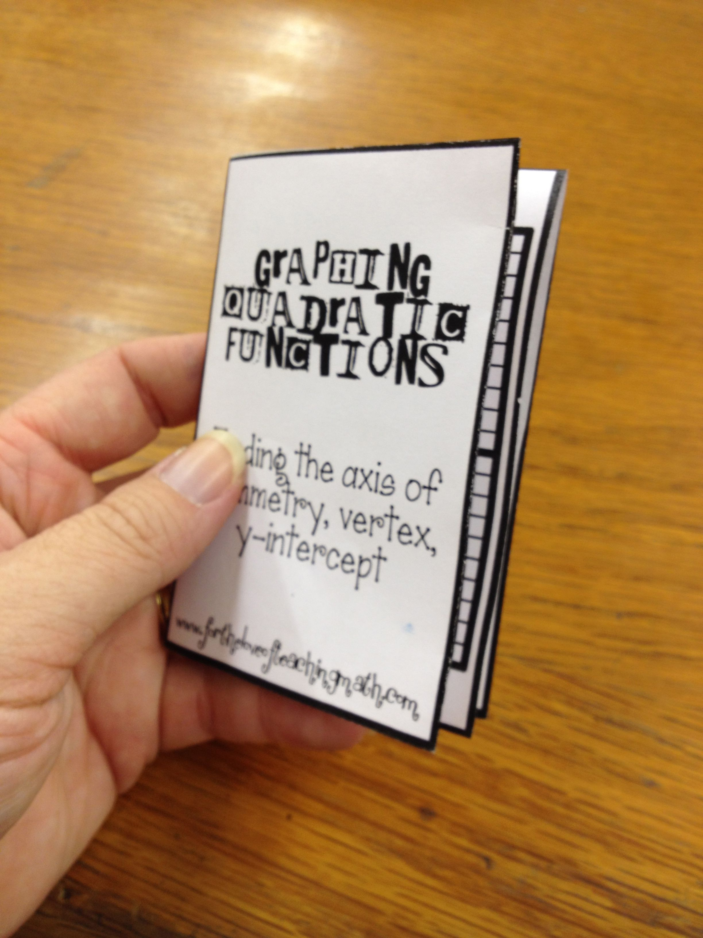 Freebie Mini Book Station Activity For Teaching Students To Graph Quadratic Functions