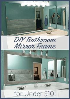diy bathroom mirror frame for under $10 | blue wood stain, mirror