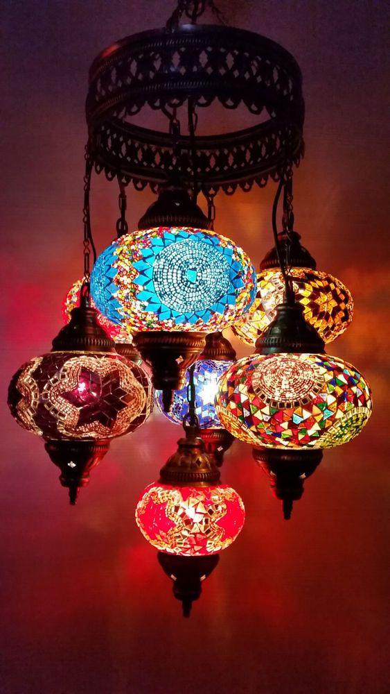 Turkish Moroccan Style Mosaic Lamp 7 Globe Hanging Chandeliers Handmade 10 Country