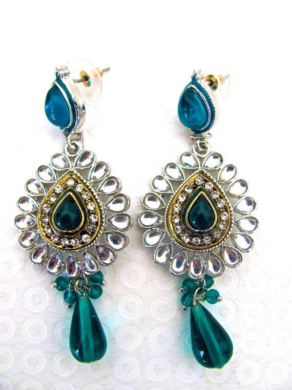 Vintage Chandelier Earrings Teal Green Wedding Victorian