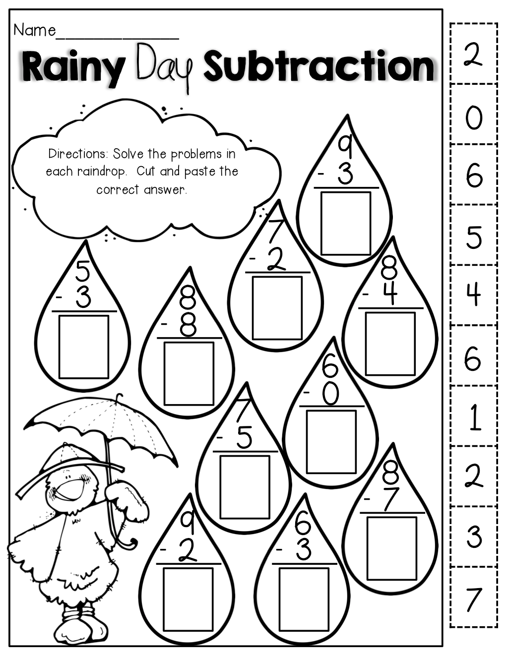 Double Cut And Paste Subtraction Worksheet