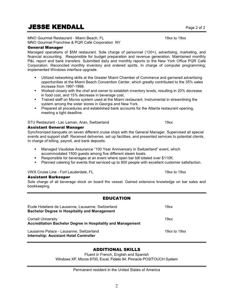 restaurant managers resume restaurant manager resume examples